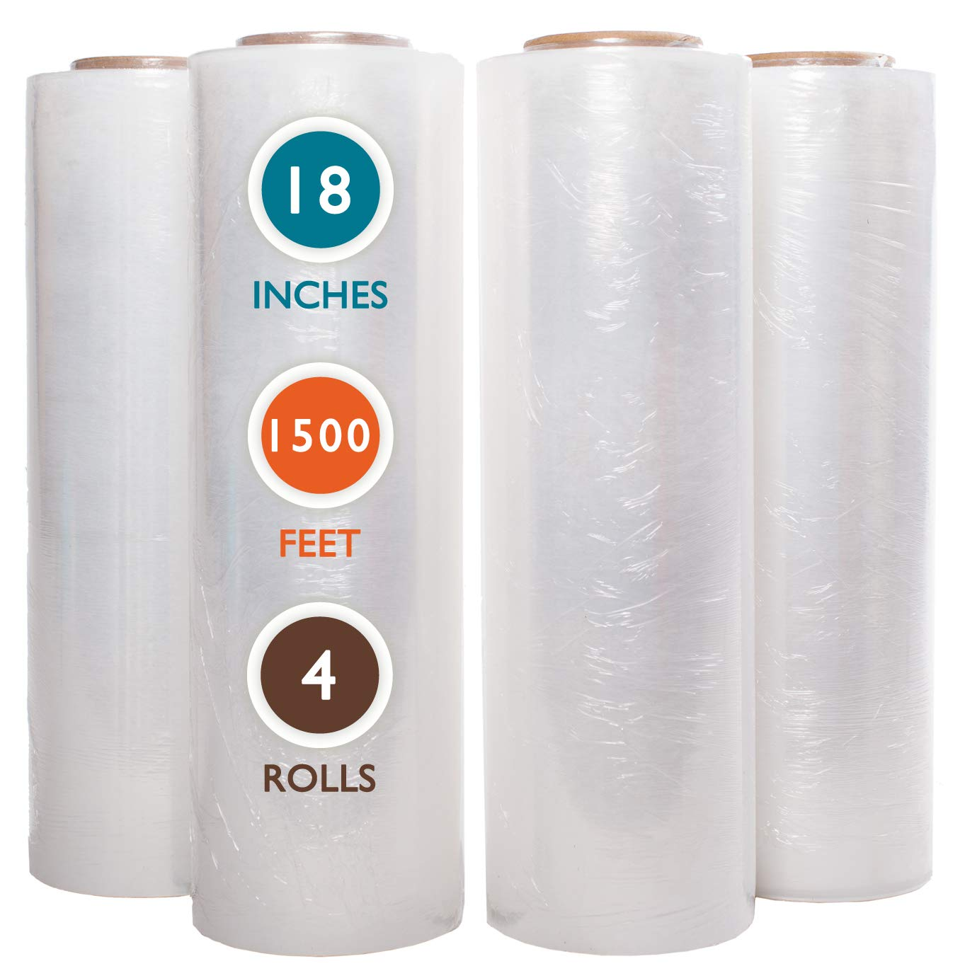 4 Rolls 18'' x 1500 Ft Stretch Wrap Heavy Duty, Industrial Strength Shrink Wrap, 55 Gauge High Performance Stretch Film Replaces 80 Gauge Low Films, Clear Hand Stretch Wrap by PackageZoom