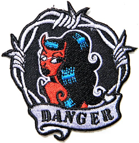 [DANGER Sexy Lady Devil Dangerous Girl Old School Skool Rockabilly Punk Rocks N Roll Rider Biker Jacket T-shirt Suit Patch Iron on Embroidered Applique Sign Badge] (Sexy Devil Lady Costumes)
