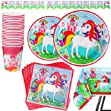 82 Piece Unicorn Party Supplies Set Including Banner, Plates, Cups, Napkins and Tablecloth, Serves 20