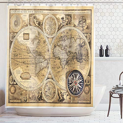 - Ambesonne World Map Shower Curtain Set Wanderlust Decor, Old Map (1626) A New and Accvrat Map of The World Historical Manuscript, Bathroom Accessories, 69W X 70L Inches, with Hooks, Pale Yelllow