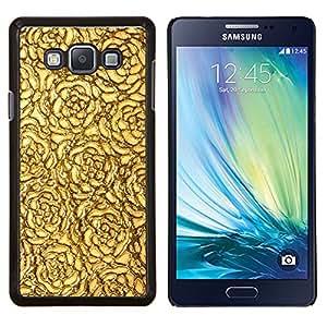 TECHCASE---Cubierta de la caja de protección para la piel dura ** Samsung Galaxy A7 ( A7000 ) ** --Oro Rosas del papel pintado de superficies