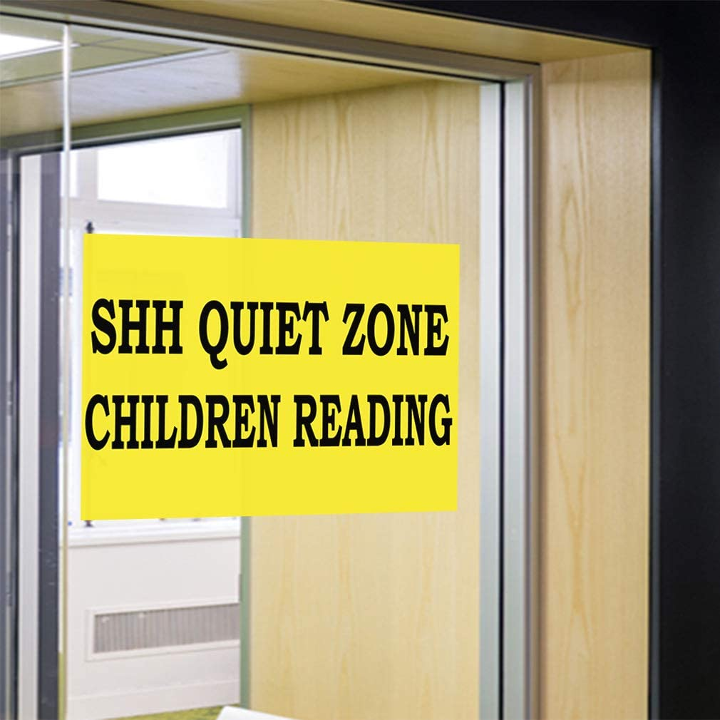 Set of 2 52inx34in Decal Sticker Multiple Sizes Shh Quiet Zone Children Reading Lifestyle Library Outdoor Store Sign Yellow