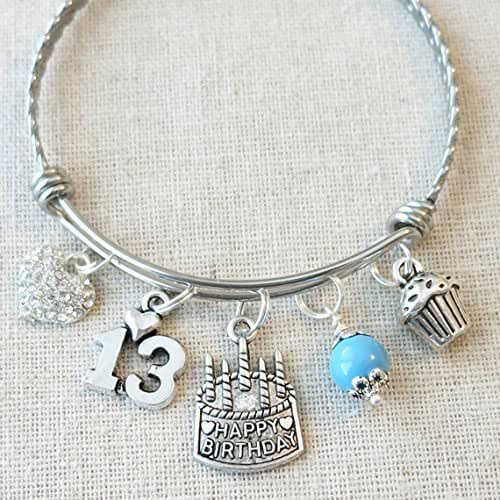 13th Birthday Gift, Happy 13th Birthday Turquoise Pearl Charm Bracelet, 13th BIRTHDAY GIRL Bangle, Birthday Gifts for Teenager, 13 Year Old Girl Birthday
