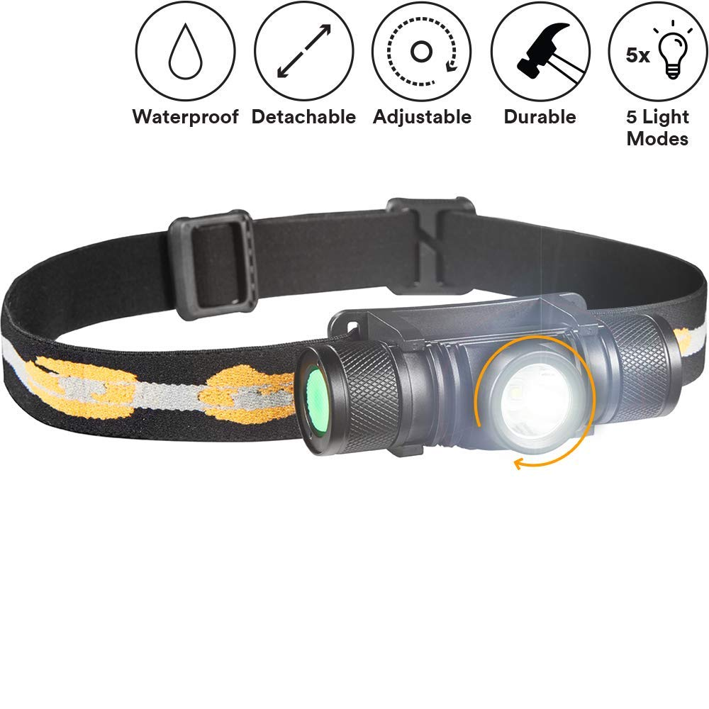 SLONIK - Adjustable beam - 500 Lumen Rechargeable LED Headlamp 2200 mAh Battery - Lightweight, Durable, Waterproof and Dustproof Headlight - Amazing 220-yards Beam - Great as Camping and Hiking Gear