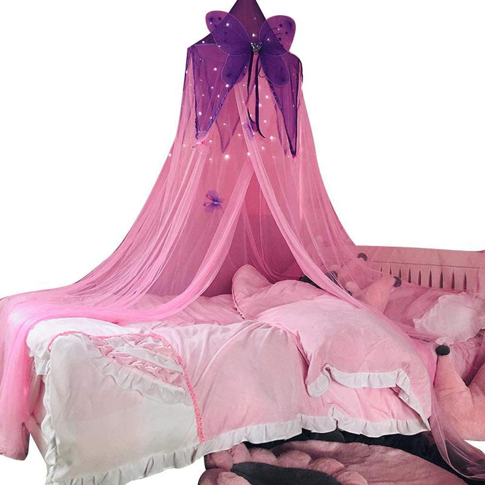 Mengersi Butterfly Bed Canopy Curtains Princess Mosquito Net for Girls Kids Toddler Adults Bedroom Decoration (Purple and Pink-Butterfly)