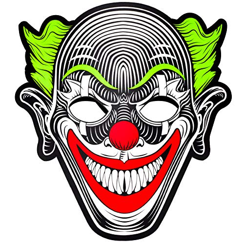 WAYCOM Halloween led Mask, Light up Mask Sound Music Reactive Flashing Mask Scary Mask for Halloween Festival Party (Green Clown)