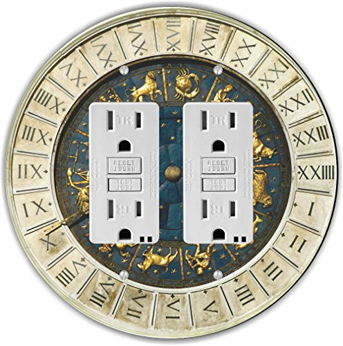 Rikki Knight RND-GFIDOUBLE-97 Zodiac Clock at San Marco Square in Venice Round Double GFI Light Switch - Marcos Outlets At San