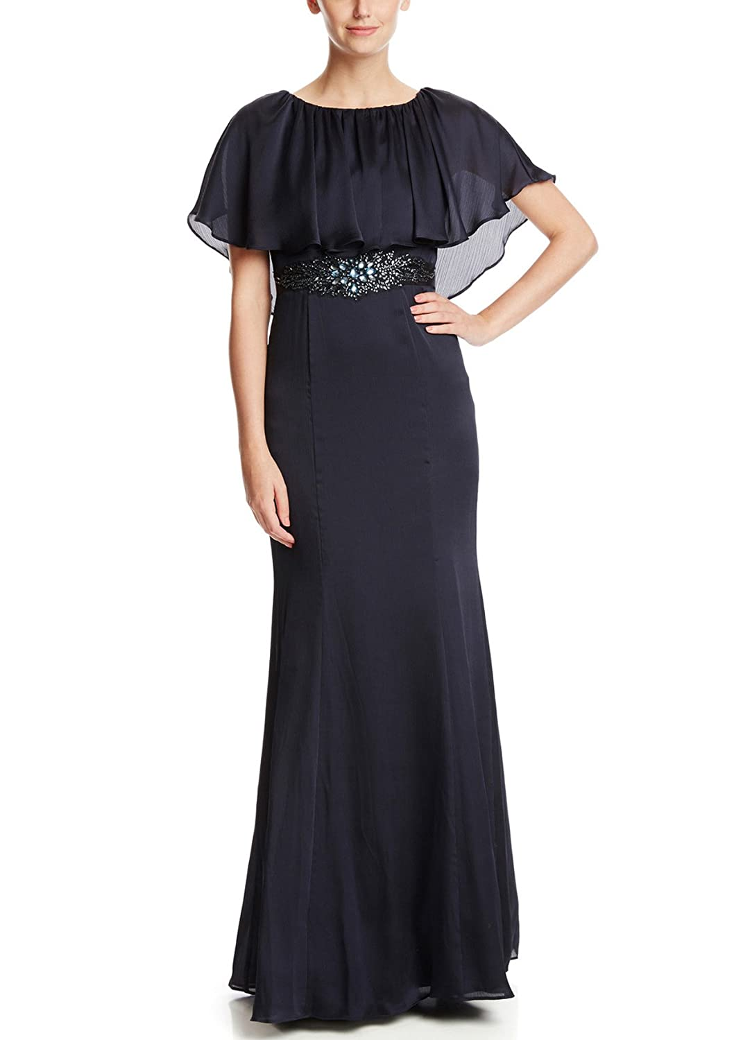 Adrianna Papell Women\'s Draped Tulle Gown With Beaded Illusion Yoke ...