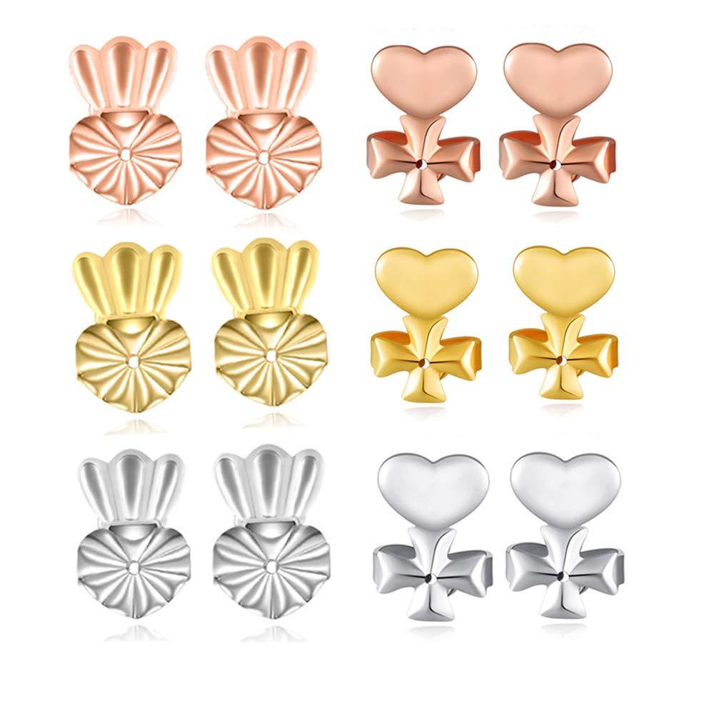 FIFATA Earring Backs 6 Pair Earring Lifters of Hypoallergenic Adjustable Earring Lift Fits All Post Earrings B07H1F8VVN_US