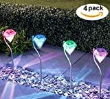 [4 Pack] Solar Garden Lights Set- Diamond Design Upper Stake With Built in Multi-Color Changing LED 4 Pack Landscape Lights for Garden, Patio, Pathway Lawn Backyard, Christmas Decor USA