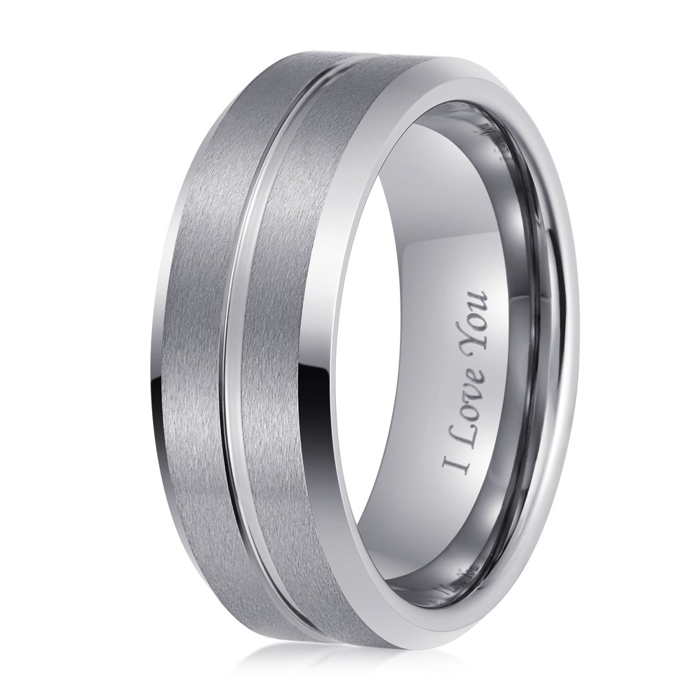 LaurieCinya Tungsten Carbide Ring Men Women Wedding Band Engagement Ring 8mm Comfort Fit Engraved 'I Love You' by LaurieCinya (Image #3)