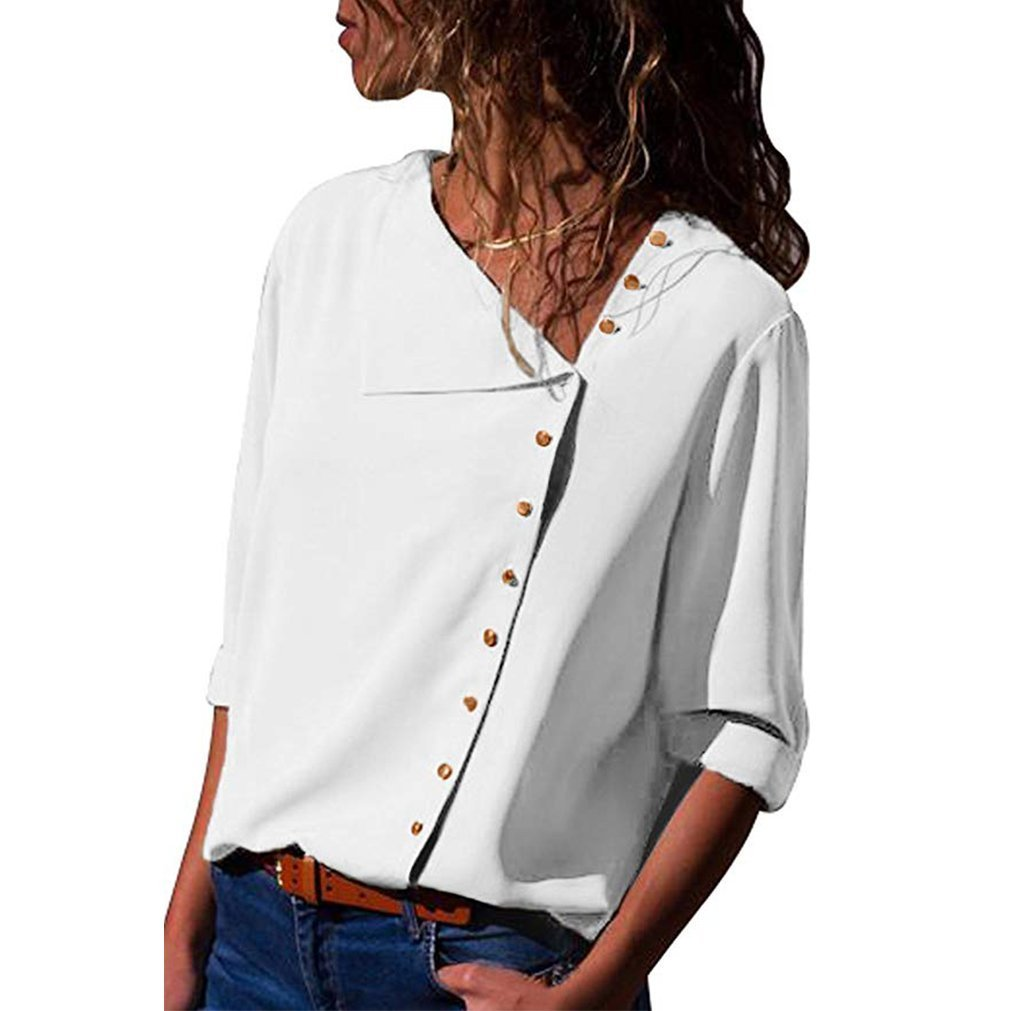 Jeazi Womens Long Sleeve Button Detail Loose Fitting Chiffon Casual Blouse Solid Tops White L