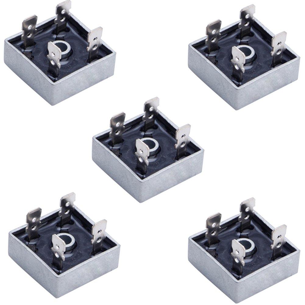 Woopower KBPC5010 - Puente rectificador de Fase ú nica con Forma de Puente de Metal (5 Unidades, 50 A, 1000 V)