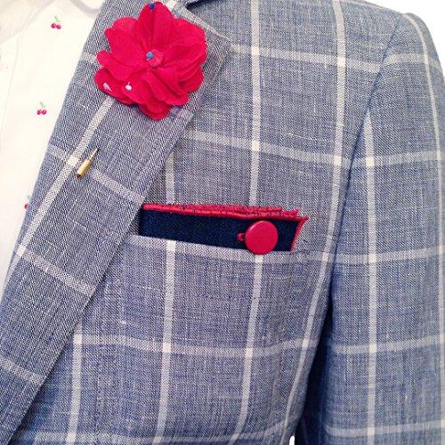 Dark Denim with Red Metal Button Men's Pocket Square by The Detailed Male by The Detailed Male (Image #5)