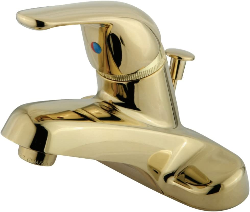 Kingston Brass GKB542 Chatham Single Metal Lever Handle 4-Inch Lavatory Faucet with Plt Pop-Up, Polished Brass
