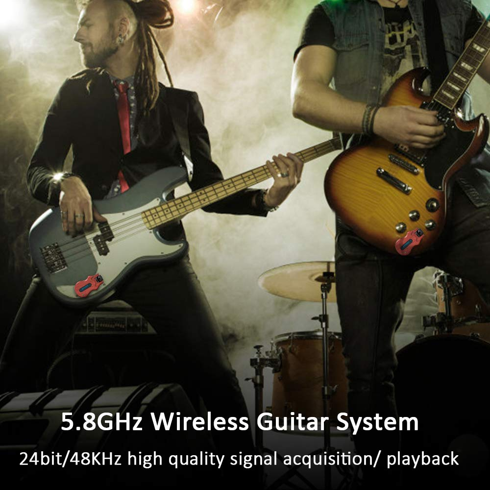ammoon Wireless Guitar System 4 Channels Audio Digital Guitar Transmitter Receiver 300 Feet Transmission Range by ammoon (Image #9)