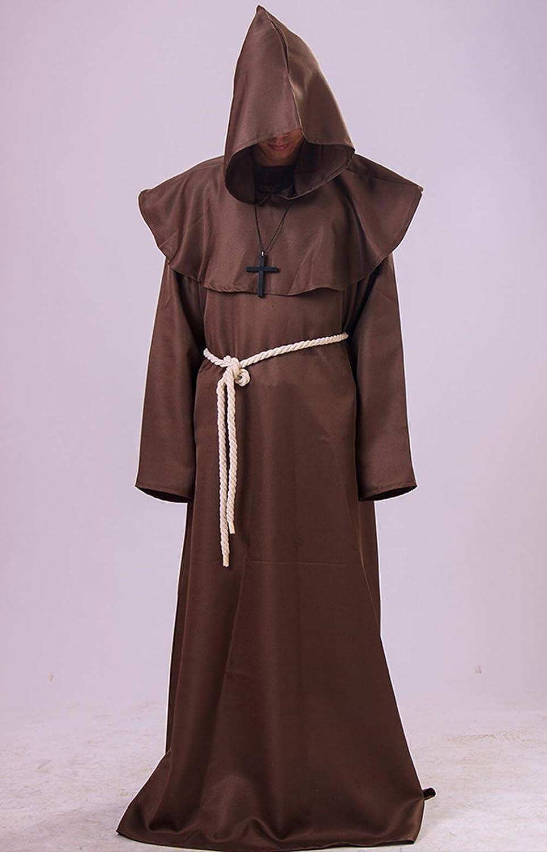 VERNASSA Mantello con Cappuccio Medievale Costume di Halloween Cappotto Cross Abbigliamento,Lungo Mantello del Monaco Uomo