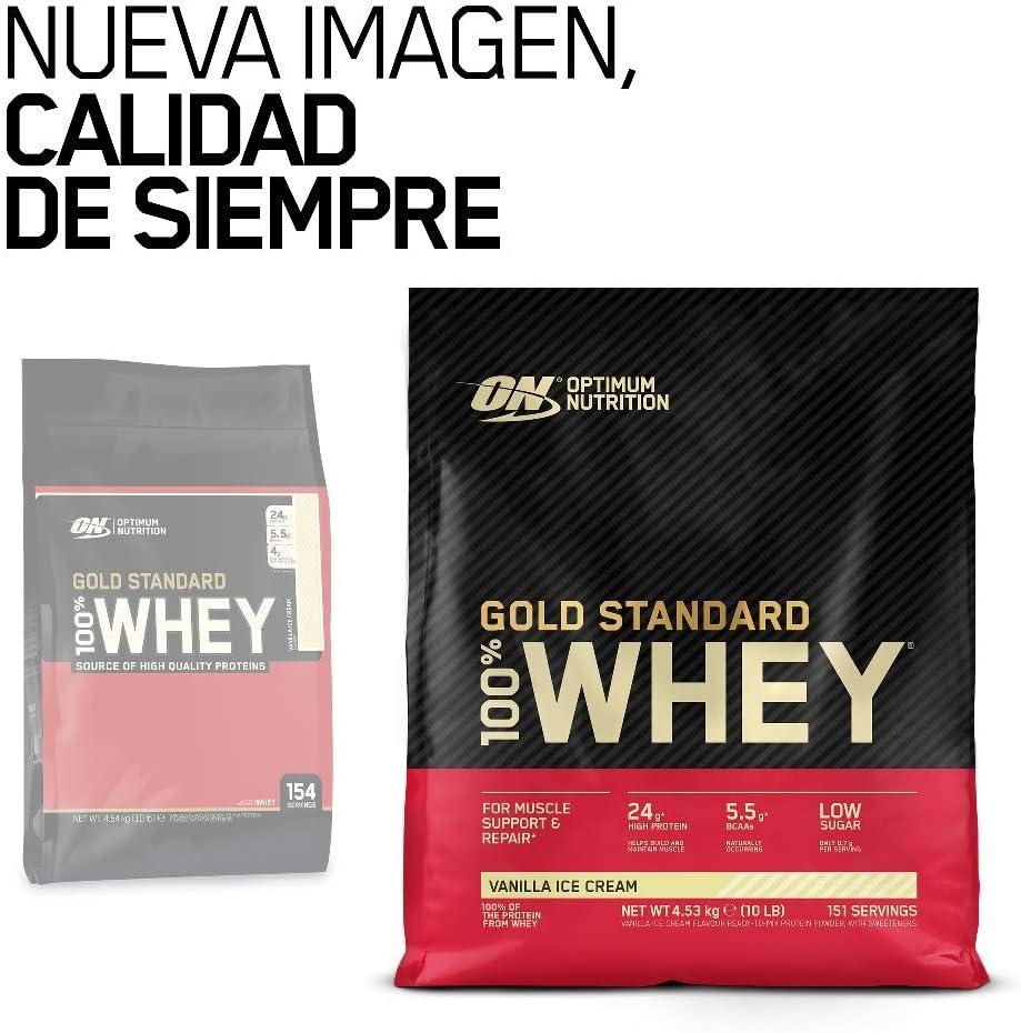Optimum Nutrition Gold Standard 100% Whey Proteína en Polvo, Glutamina y Aminoácidos Naturales, BCAA, Helado de Vainilla, 151 Porciones, 4,53kg, ...