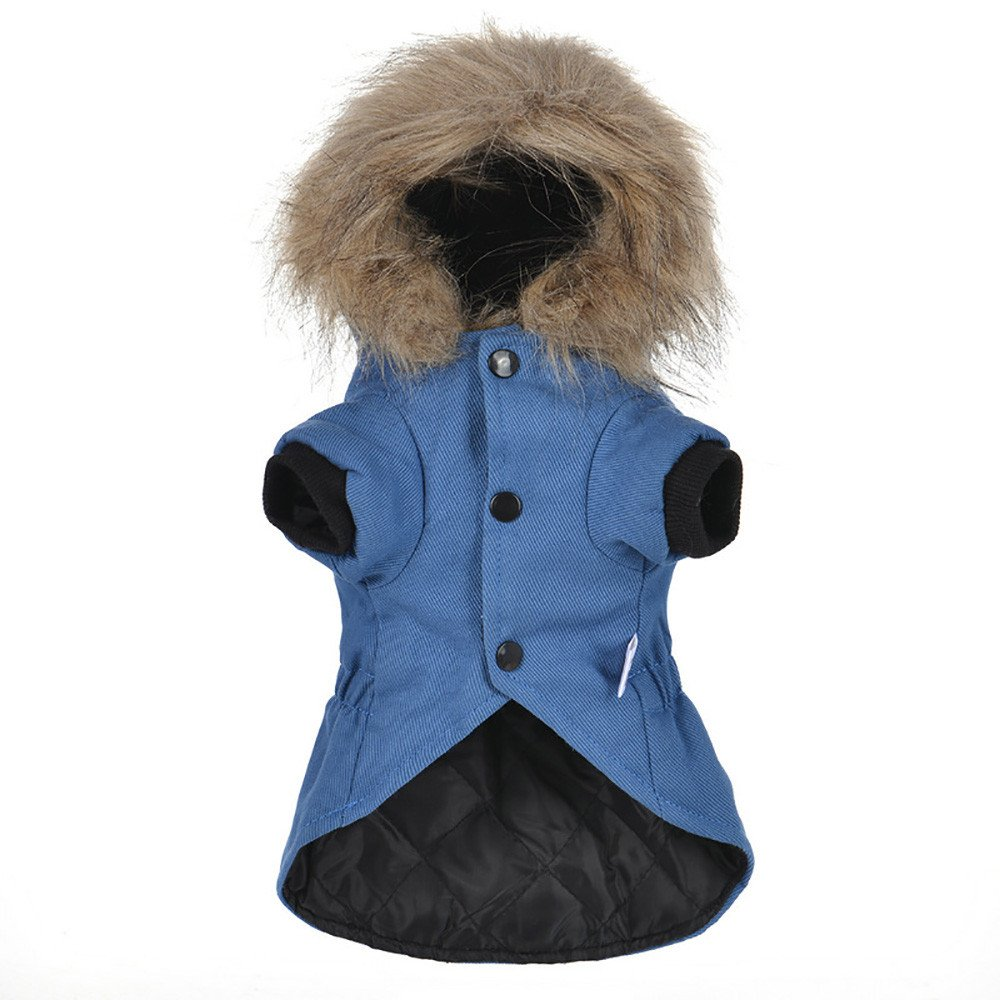 Cat Pet Small Dog Doggy Clothing Winter Warm Padded Thickening Vest Coat Dog Costumes Pet Fur Collar Clothes Sweater Dog Shirt Apparel Doggy Vest Puppy Sweatshirt Outfits Doggy Dress (Blue, XL) by succeedtop (Image #4)