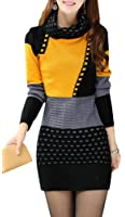 Yasong Women's Long Sleeve Turtleneck Knitted Jumper Dress Sweater