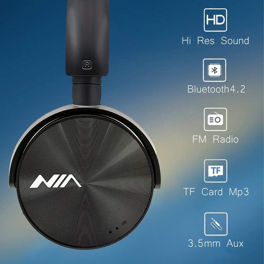 NIA Q6 iOS Andriod App-Controllable FM Radio Bluetooth 4.2 Wireless MicroSD TF Card Mp3 Player On-Ear Headphones