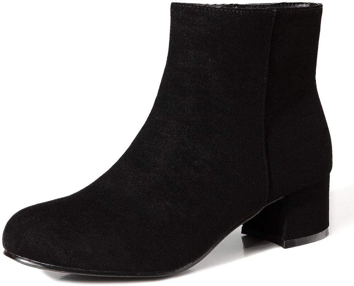 Women/'s round toe Warm faux suede fur trim block heel snow Lace up Ankle Boots