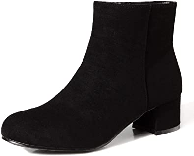Plus Size Fashion Womens Velvet Low Block Heel Ankle Boots Shoes Spring Comfort