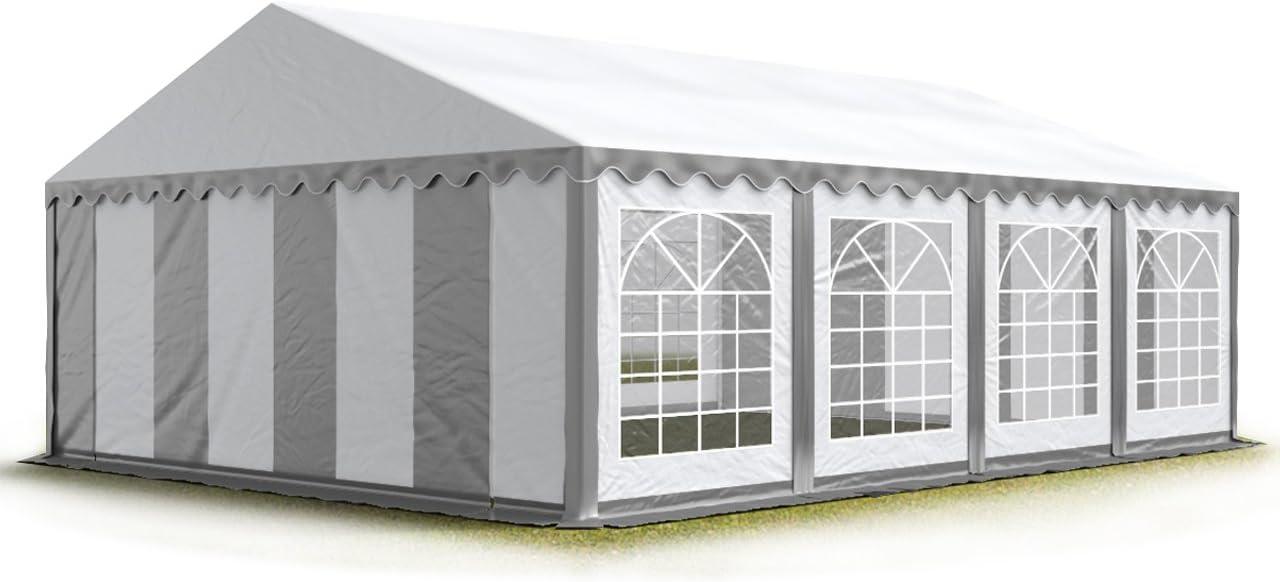 TOOLPORT Carpa para Fiestas Carpa de Fiesta 5x8 m Carpa de pabellón de jardín Aprox. 500g/m² Lona PVC en Gris-Blanco Impermeable