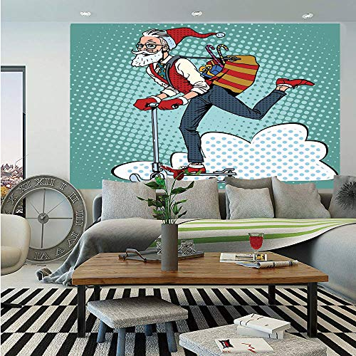 Indie Huge Photo Wall Mural,Pop Art Scenery with Hipster Santa Claus on Scooter with Gift Bag Christmas Theme,Self-Adhesive Large Wallpaper for Home Decor 100x144 inches,Teal Red Blue]()