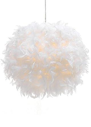 Amazon.com: Waneway - Lámpara de techo de plumas blancas, no ...