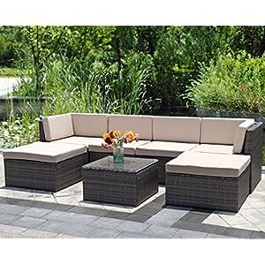Wisteria Lane 7 Piece Outdoor Wicker Sofa, Patio Furniture Set Garden Rattan Sofa Cushioned Seat with Coffee Table,Gray