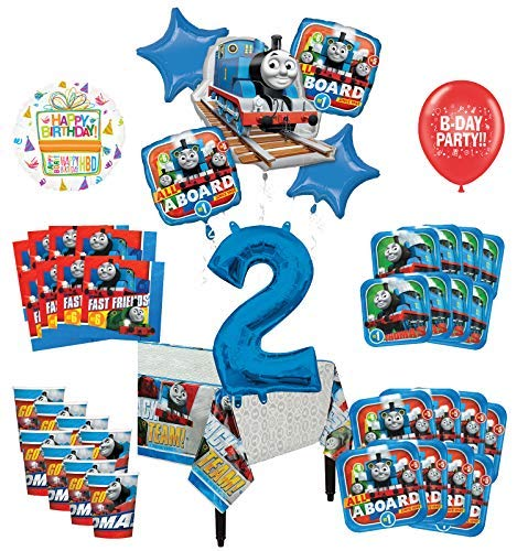 - Mayflower Products Thomas The Train Tank Engine 2nd Birthday Party Supplies 8 Guest Decoration Kit and Balloon Bouquet