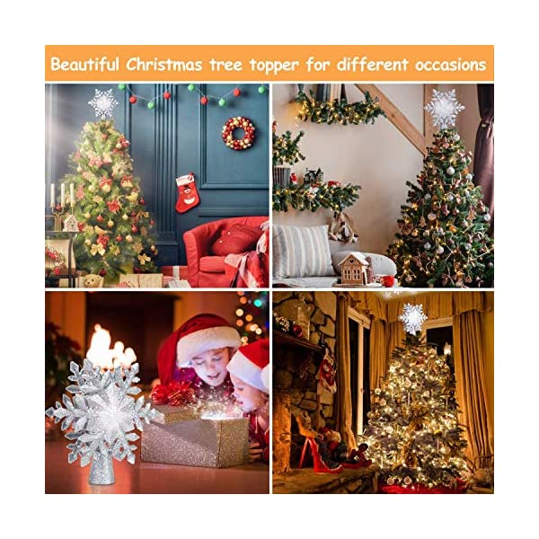 lluminazione di Natale 3D Hollow Stella di Natale Puntale dell'albero di Natale Fiocco di Neve luci del proiettore a LED per Natale Decorazione dell'albero di Natale Home Decor Partito (Argento) 5 spesavip