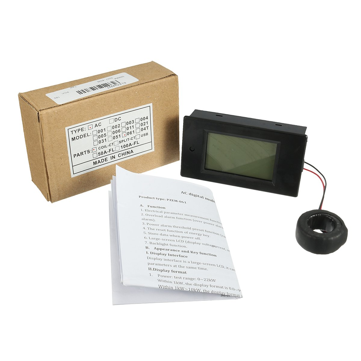 Elegiant Ac 80 260v 100a Digital Current Voltage Amperage Lcd Power Display Ammeter Voltmeter Panel Amp Volt Meter 100v Energy Dc Testing Gauge Monitor