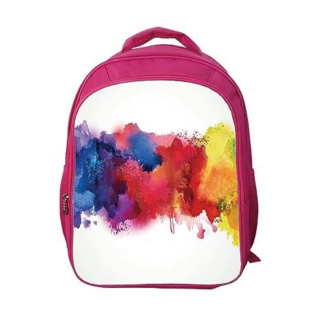 bafb43e4e343 iPrint School Bags Kid's Backpacks Custom,Abstract,Vibrant Stains of  Watercolor Paint Splatters Brushstrokes