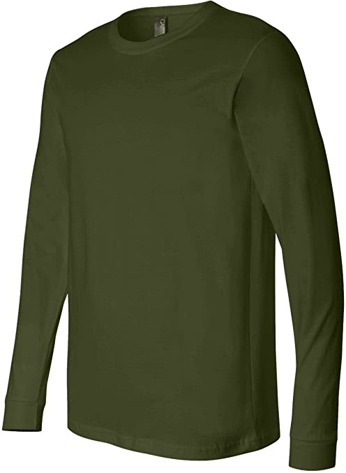 Amazon.com  Bella 3501 Mens Jersey Long Sleeve Tee - Olive  44 ... ec4617ffe01