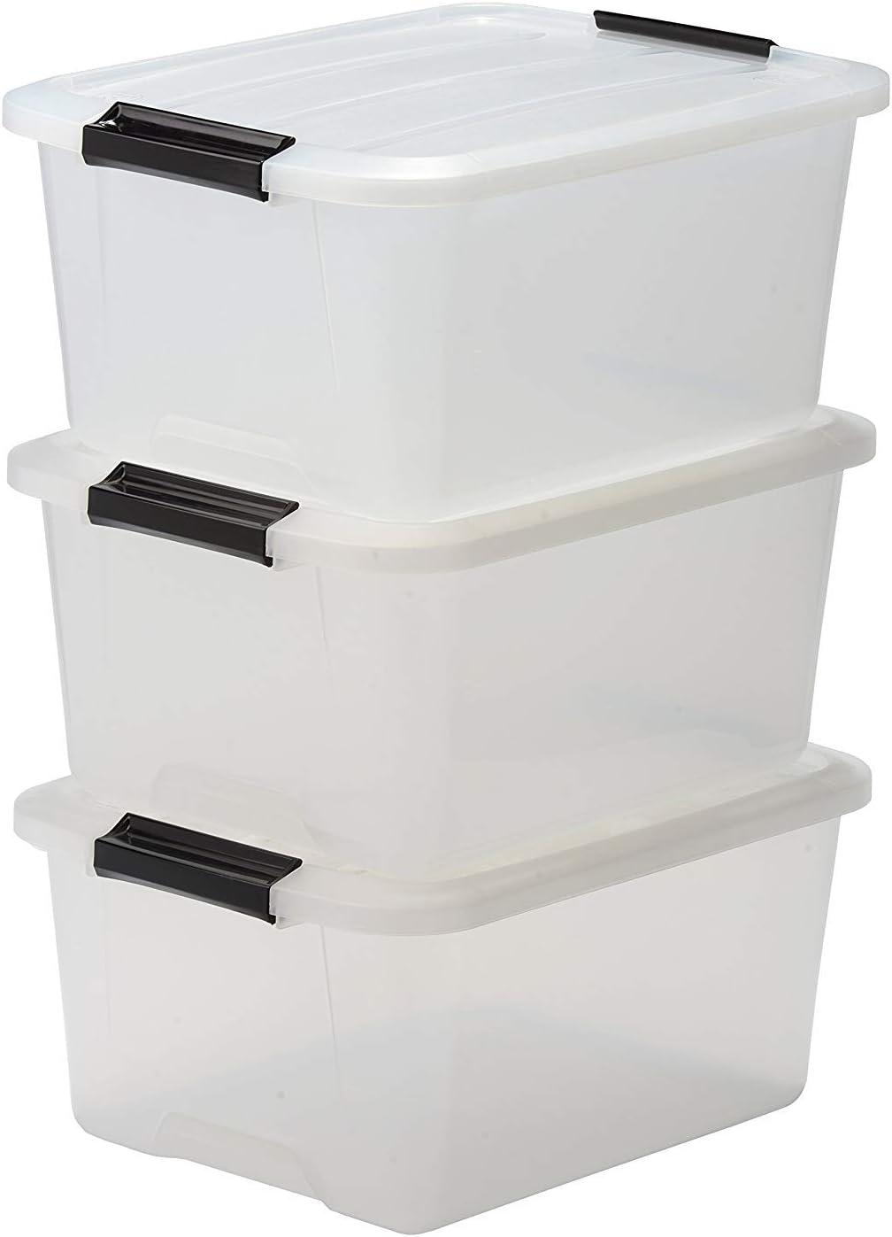 3 x Aufbewahrungs Box mit Deckel 60 L Kunststoff Stau Korb Stapel Spiel Kiste