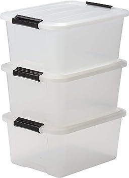 15 Liter IRIS 3er-Set stapelbare Aufbewahrungsboxen Top Box mit Deckel und Klickverschluss transparent Kunststoff // Plastik