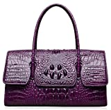 PIJUSHI Womens Top Handle Handbags and Purses Crocodile Bags for Ladies (27006 violet)