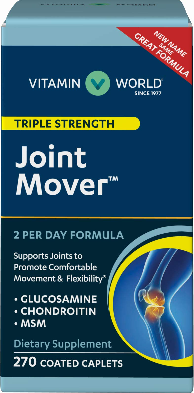 Vitamin World Joint Mover 270 Coated Caplets, Triple Strength, Glucosamine, MSM, Chondroitin, Contributes to Joint Comfort and Mobility, Joint Health, Coated, Gluten Free