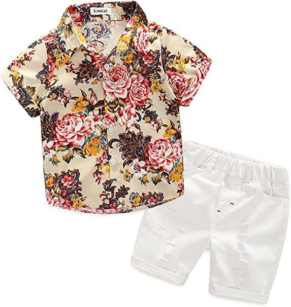 Odziezet Camisa Flores + Pantalones Cortos Bebé Niño Playa Fiestas Hawai Playa Conjuntos 2 Piezas Verano 0.5-5 años: Amazon.es: Ropa y accesorios