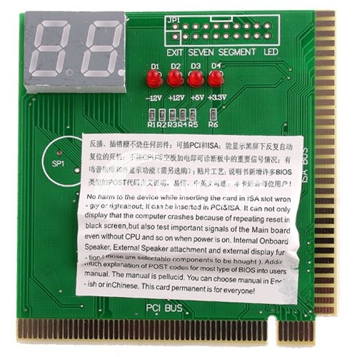 Kingzer PC PCI & ISA MB 2-Digit Card Motherboard Post Tester Analyzer Diagnostic Tool from KINGZER