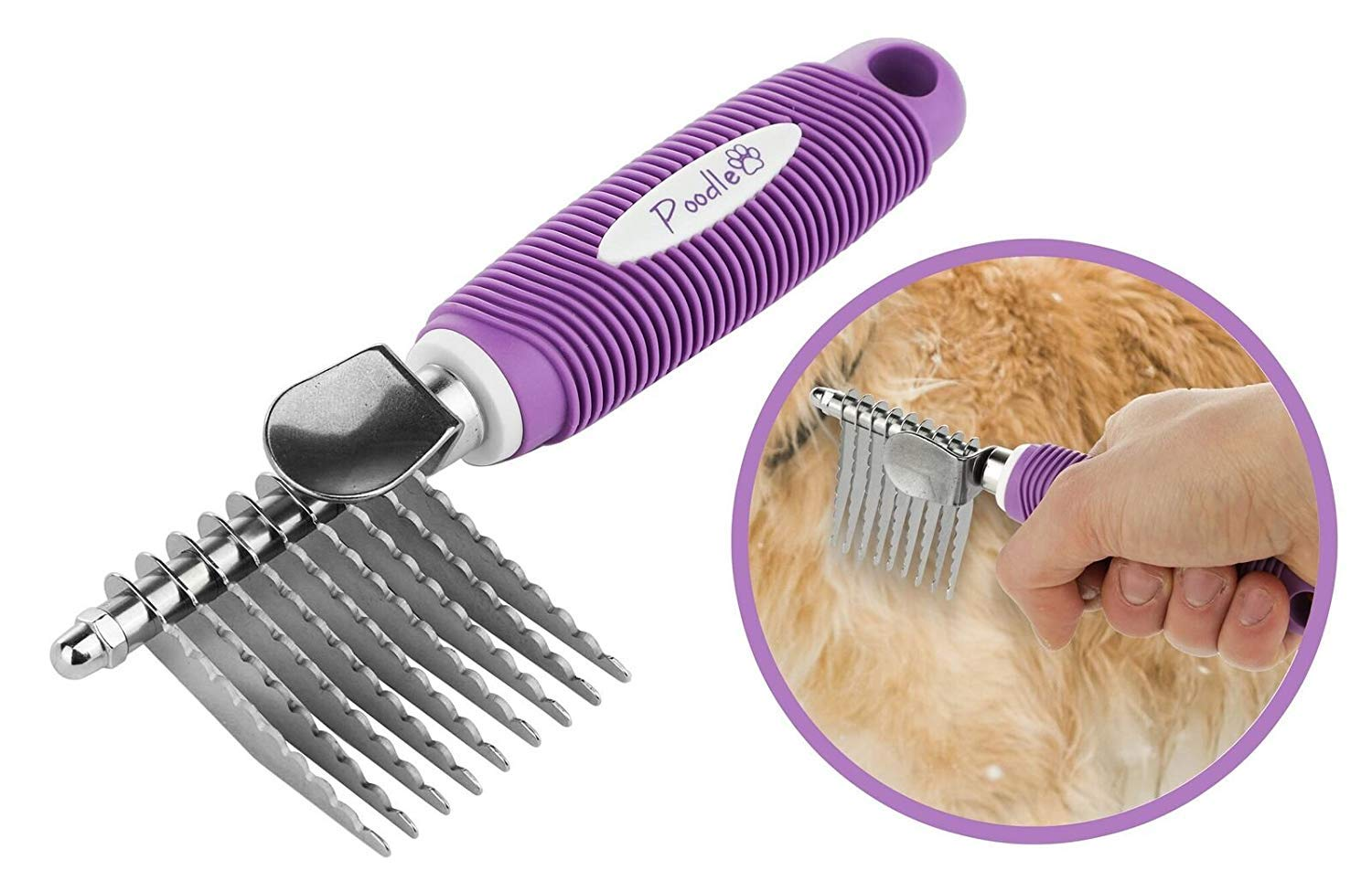 Poodle Pet Dematting Fur Rake Comb Brush Tool - with Long 2.5'' Steel Safety Blades for Detangling Matted or Knotted Undercoat Hair, Safe Grooming Accessories for Dogs, Longhaired Cats, Rabbits, Horses by Poodle Pet