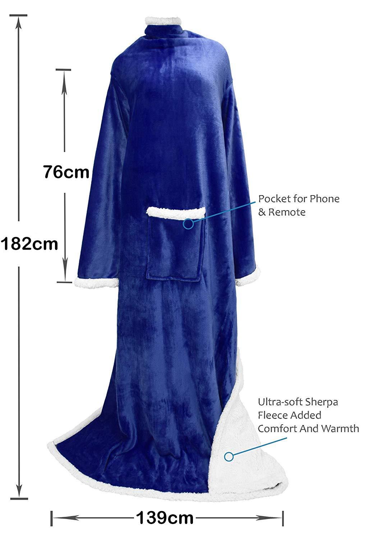 Catalonia Platinum Blanket with Sleeves, Dual Microplush Fleece Sherpa Warm Blankets for Adult Women Men 183cm x 140cm, Blue