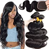 Ali Moda Hair 18 20 22 and 16inch Body Wave 3 Bundles With Closure Brazilian Virgin Hair Weave Human Hair Extensions Natural Color