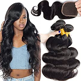 Ali Moda Hair 10 12 14 and 10inch Closure Brazilian Body Wave 3 Bundles With Lace Closure Unprocessed Human Hair Extensions Natural Color