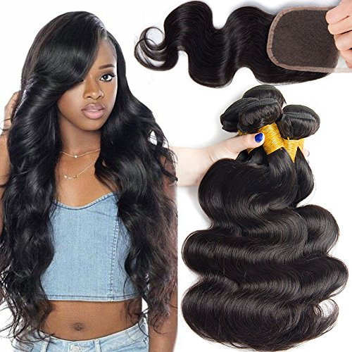 Ali Moda Hair 18 20 22 and 16inch Body Wave 3 Bundles With Closure Brazilian Virgin Hair Weave Human Hair Extensions Natural Color by ALI MODA