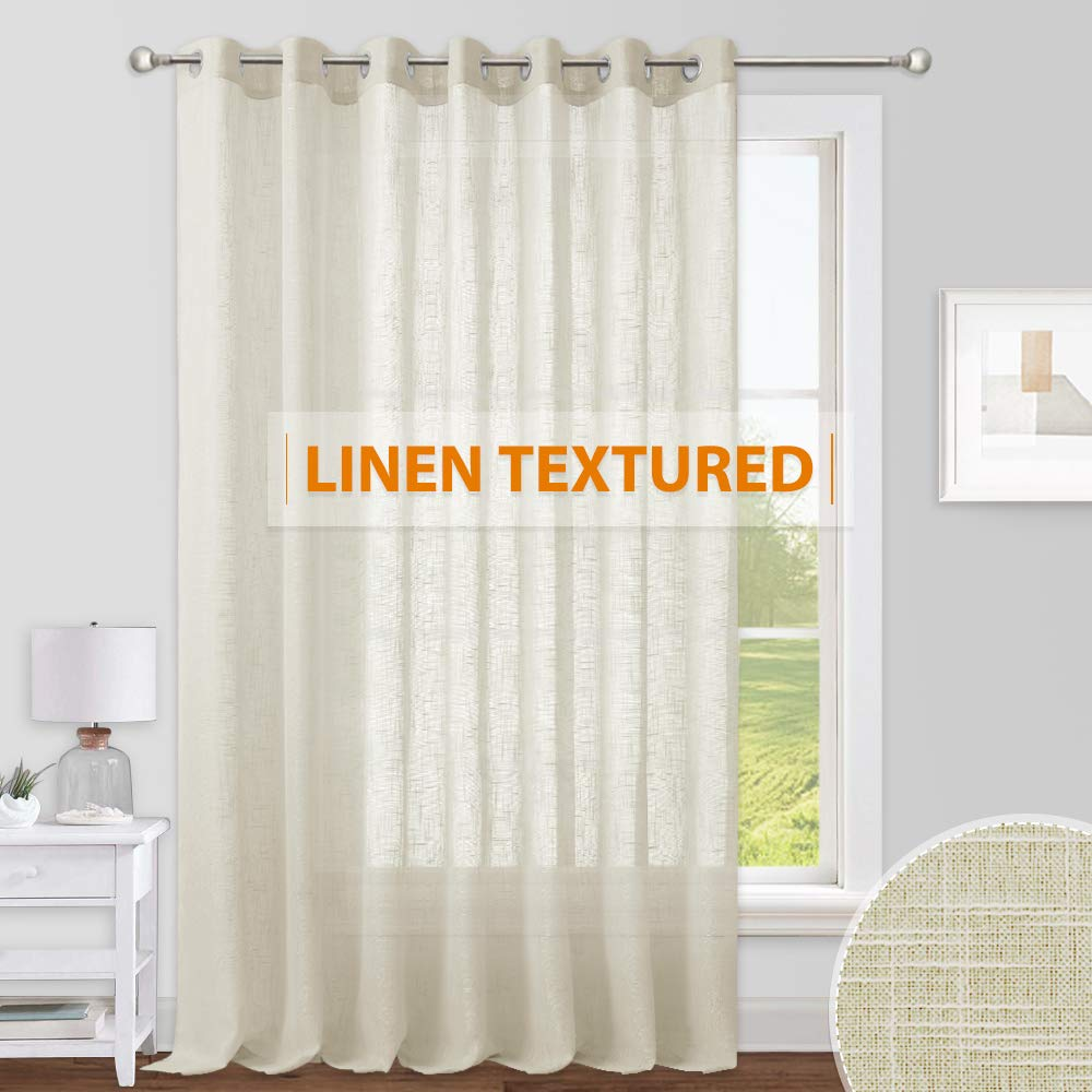 RYB HOME Sliding Door Curtains - Large Window Curtains for Living Room Dining Bedroom Decor, Linen Sheer Sunlight Glare Filter Privacy Backdrop, Warm Beige, 100 inches Wide x 84 inches Long