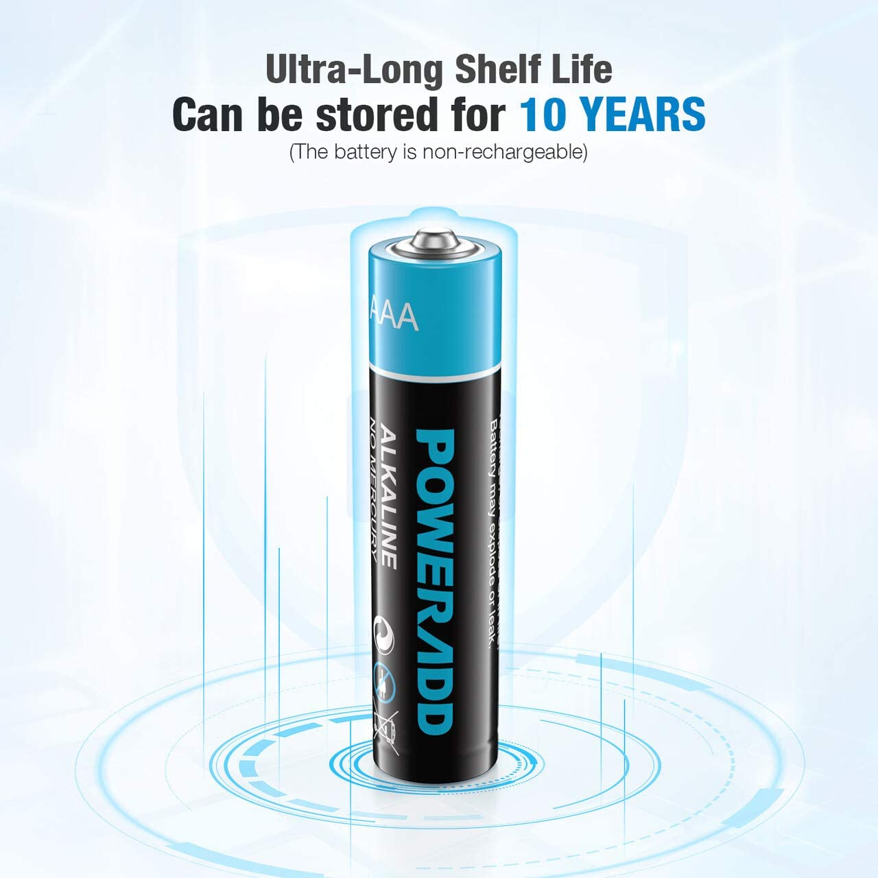 POWERADD AAA Alkaline Batteries Long Lasting, All-Purpose Battery for Household and Business - 16 Count: Home Audio & Theater