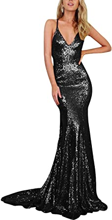 Women Champagne Gold Mermaid Sequined V-Neck Long Bridesmaid Dresses Spaghetti Strap Open Back Sweep Train Evening Dress